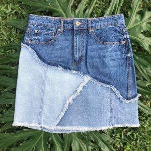 ella moss patchwork three tone fringed denim skirt